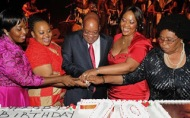 Jacob Zuma, is the President of South Africa, celebrating his 70th birthday with four wives
